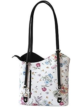 Rucksack Handtaschen 2 in 1 Damentaschen Ledertasche Lederrucksack Designer Luxus Henkeltasche mit Blumenmuster...