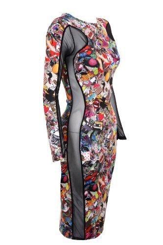 Saphir Damen Netz Seite Contrast Witzig Druck Damen Schlankmachend Bodycon Kleid 8-14 Witzig Aufdruck