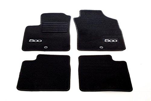 Preisvergleich Produktbild Fiat 500 / 500 Cabrio ab Bj.09/2007-01/2013 - Logo (weiß) Fußmatten Set Velours