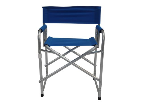Maffei Art 1350 Regis. Chaise directeur aluminium, avec accoudoires rembourrés. Tissu polyester, couleur bleu