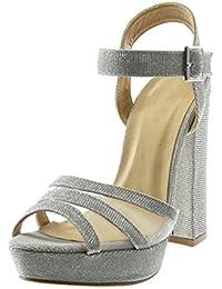 9a3d9dbc3 Angkorly Women's Fashion Shoes Sandals Mules - Platform - Ankle Strap - Peep-Toe  - Shiny - Glitter - Fishnet Block…