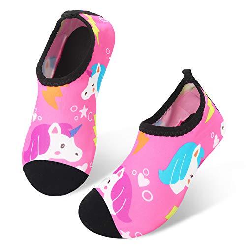 JIASUQI Kleine Kinder Sportlich Slip-On Wasser Schuhe Aqua Socken für Swim Pool Beach Rosa Einhorn, 32/33 EU -
