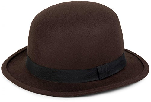 styleBREAKER Melonen Hut, Filzhut mit schmaler Krempe und schwarzem Zierband, Bowler Hut, Unisex 04025006, Farbe:Dunkelbraun -