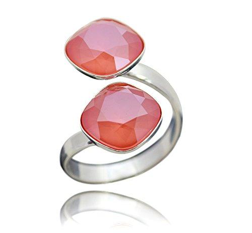 Crystals & Stones Swarovski *DOPPELT SQUARE* *VIELE FARBEN* 925 Silber Ring Swarovski Elements - 925 Sterling Silber Damen Ring Größe Verstellbar (Light Coral)