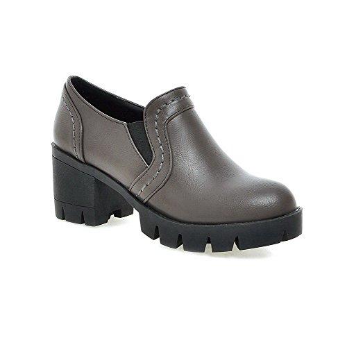 AllhqFashion Damen Weiches Material Elastic Band Rund Zehe Mittler Absatz Pumps Schuhe Grau