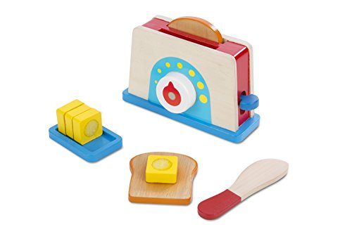 Melissa & Doug Bread and Butter Toaster Set - Wooden Play Food and Kitchen Accessories, Multi Color