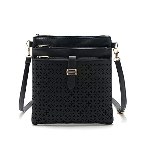QPALZM Frau Mode Retro Gürtel Mit Einem Schulter Diagonal Paket Damen Tasche Hohlen Weiblichen Reißverschluss A5