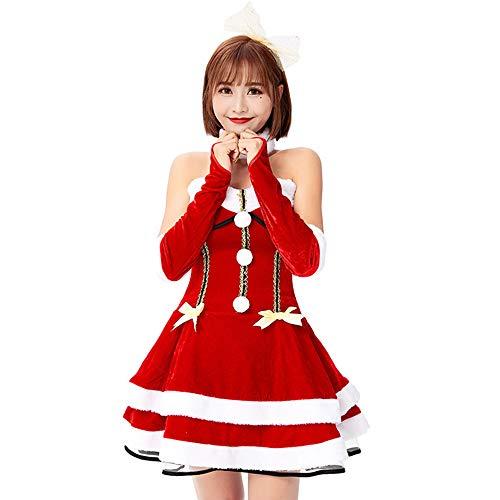 Handschuhe Kostüm Santa Sexy - XIADE Sexy Santa kostüm Frauen 4 stück schulterfrei Kleid Handschuhe Kopfschmuck Kragen weihnachtsmann Cosplay kostüm