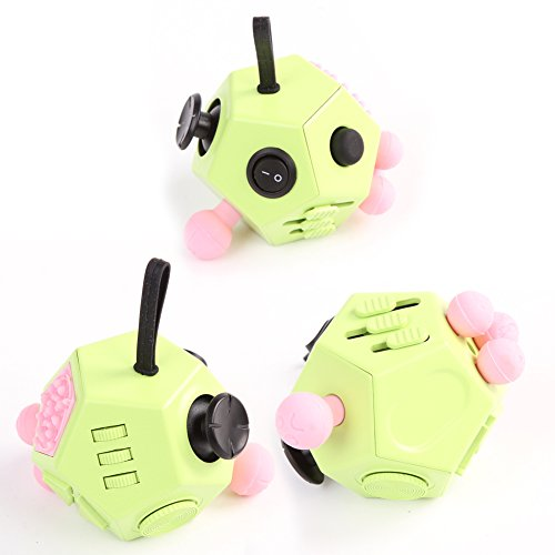 Fidget Dice II 12 Sides Anti-anxiety and Depression Toys for Children and Adults (Green) -