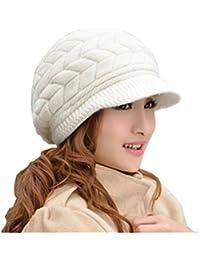 LEORX Cálido invierno de punto sombrero de vendedor de periódicos gorro  nieve esquí Cap para mujer b4e1f95ea184