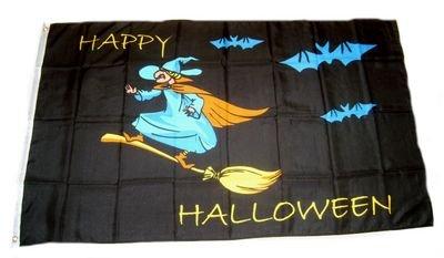 Flagge Fahne Happy Halloween Hexe 90 x 150 cm FLAGGENMAE®