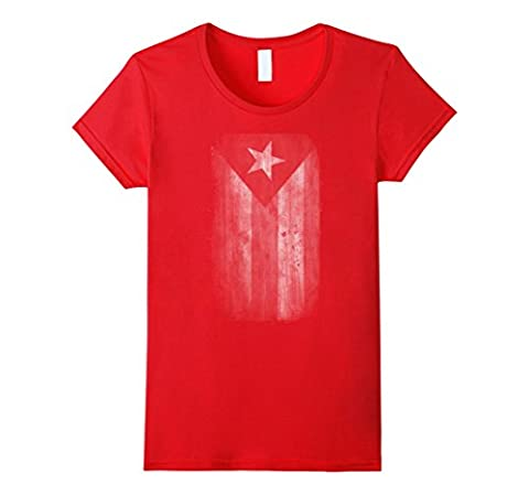 Women's Big Texas Faded Puerto Rico Flag (White) Fine Jersey T-Shirt Small Red