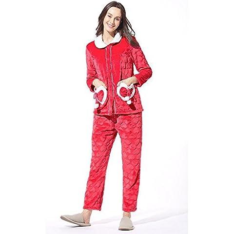LIUDOURebeca Linda gruesa franela pijamas ropa de otoño invierno de las mujeres , red , xl