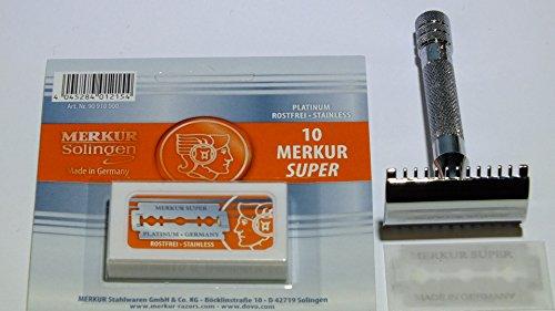 Preisvergleich Produktbild Im Set: Merkur Rasierhobel 15C,  kurz mit Zahnkamm,  vercromt + 10 Merkur Rasierklingen