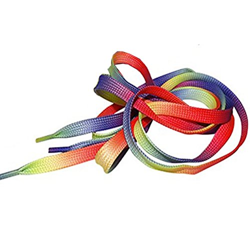 943c546fe325cb Multi Coloured Rainbow Flat Shoe Laces For Trainers Skate Shoes