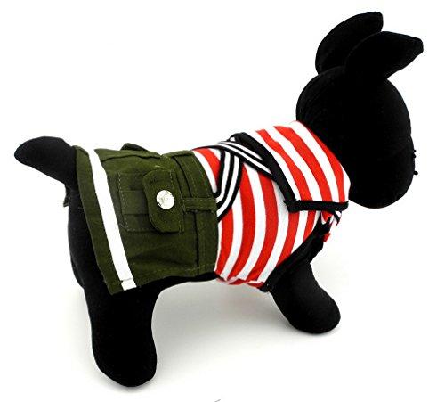 ranphy Kleiner Hund/Katze Sailor Streifen Jumpsuit Marineblau PET Sweatshirt Chihuahua Outfits Khakis Hose Fall Haustier Kleidung für Hunde Katzen (Sailor Girl Kostüm Haustier)