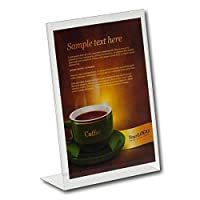 EPOSGEAR® A4 Portrait Angled Acrylic Lean Back to Counter Menu Leaflet Flyer Poster Holder Display Stands