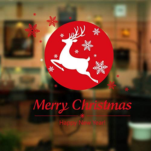 Littlefairy Weihnachten Schneeflocke Hirsche Serie Glasfenster Schrank Dekoration-Wandtattoo
