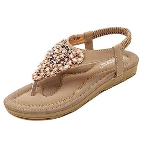 HCFKJ 2017 Mode Frauen Sommer Weiß Beaded Wohnungen Clip Toe Wohnungen BöHmische Herringbone Sandals Beach Shoes Khaki