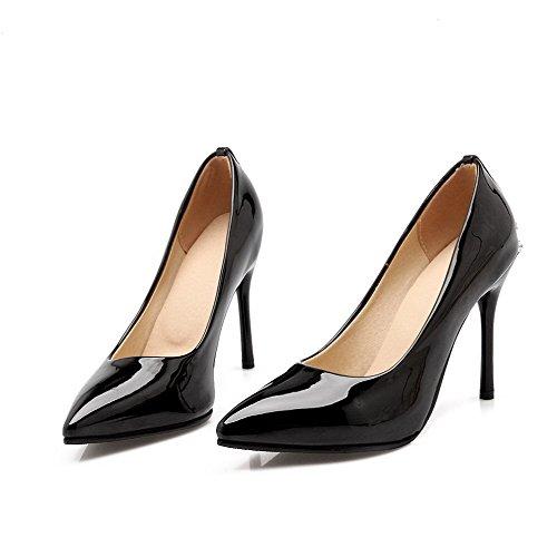 AllhqFashion Femme Stylet Couleur Unie Tire Verni Pointu Chaussures Légeres Noir