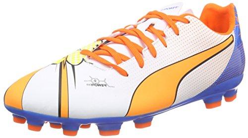 Puma Evopower 4.2 Pop Ag, Chaussures de football homme Blanc - Weiß (white-orange clown fish-electric blue lemonade 01)