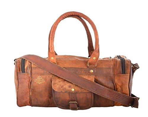Preisvergleich Produktbild indiartvilla Leder Duffel Tasche für Damen und Herren overgnight Seesack Weekend Windel Travel Gepäck Gym Tasche Tan
