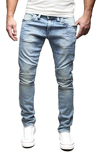 MERISH Herren Jeanshose Biker auch Destroyed Jeans SLIM FIT Jeans Hose 4...
