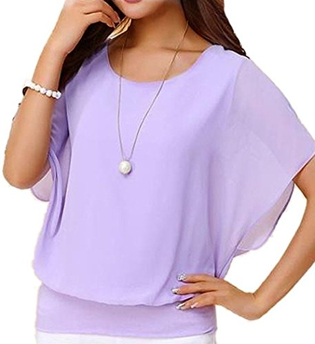 VIISHOW Damen Sommer Casual Loose Fit Kurzarm Batwing T-Shirt Chiffon Top Bluse(Lila L) (Purple Shirt Fit Loose)