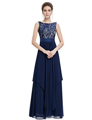 Ever Pretty Robe de soirée élégante en col rond 08217 Bleu Marine
