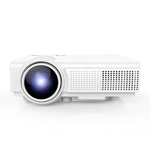 TENKER Video proyector portátil LCD 1080P 1500 Lumens, mini videoproyector Home Cinema oficina Supports 1080P HDMI USB TF Card VGA AV(Q5, blanc)