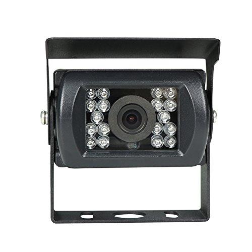 KIPTOP Farb Rückfahrkamera in Schwarz mit Nachtsicht und IP67 für alle Monitore + 5 M Verlängerungskabel