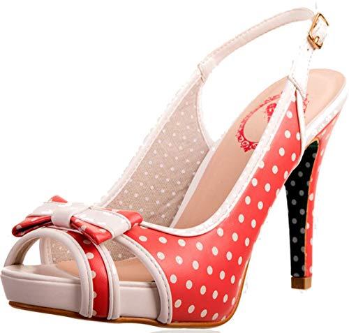 Banned Vintage MARY LOU Polka Dots Punkte SLING Peep Toe HEELS Rockabilly Peep-toe Polka Dot-slingback