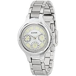 Espoir Chronograph Pattern White Dial Women's Watch - Alia0507