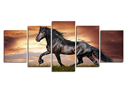 5 Panel Wall Art Schwarz Kurze Bein Pferd Auf Dem Feld Im Sonnenuntergang Gras Und Blume Malerei Druck Auf Leinwand Für Wohnkultur Rahmenlos,25 * 215Cm