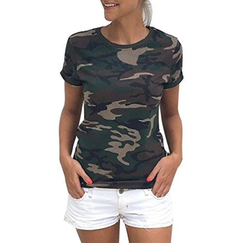 WINWINTOM Las Mujeres Casual Camiseta Camuflaje de Manga Corta de Verano Camisa Blusa (M, Verde)