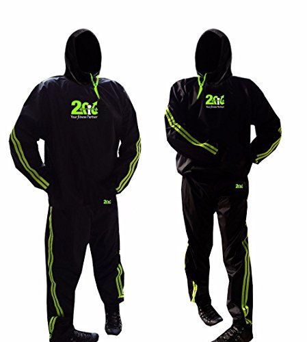 2Fit Sauna Traje de sudor Chándal ejercicio Fitness pérdida de peso adelgazamiento gimnasio boxeo traje Unisex con capucha, verde