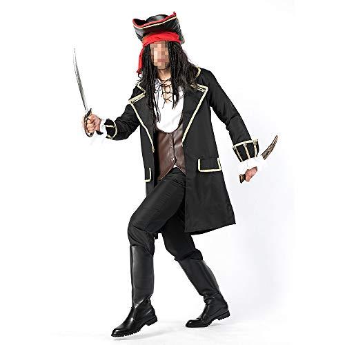 Piraten Männliche Kostüm - kMOoz Halloween Kostüm,Outfit Für Halloween Fasching Karneval Halloween Cosplay Horror Kostüm,Halloween Kostüm Cosplay Jack Kapitän Männlicher Pirat Kleidung Räuber Bühnenabnutzung