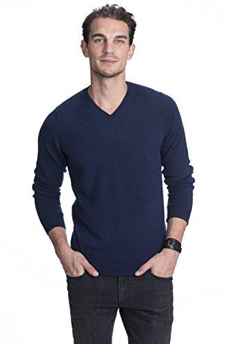 STATE CASHMERE langärmliger Pullover aus 100 % reinem Kaschmir mit V-Ausschnitt für Herren Marine