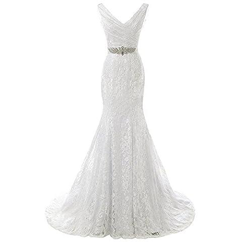 soirée de soirée robe longue fête de mariage bridal princesse anniversaire prom lace diamond fish tail banquet blanc v neck backless dresses . 2 . us8