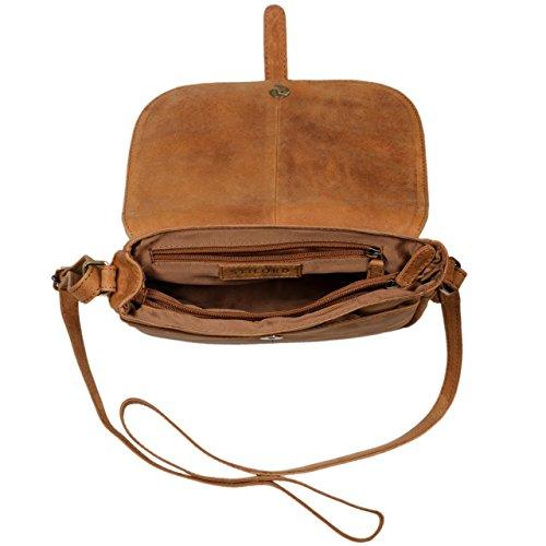 STILORD Kira Borsetta in pelle da donna borsa a tracolla vintage borsa a mano piccola spalla saccoccia di vera pelle, Colore:siena - marrone marrone - sabbia