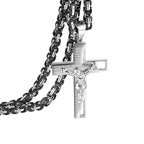 Herren Kreuz Anhänger mit Halskette Silber, Jesus Kette Gravur Bibel Gebet mit Silber Schwarz 55cm Königskette für Männer - Anhänger Silber Kreuz Halskette