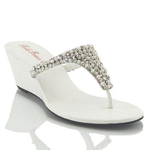 Essex glam sandalo donna bianco infradito scintillante elegante finto diamante con tacco a cuneo eu 36