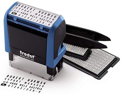 Trodat Printy 4912 Typo - Selbstfärbender Stempel zum Selbst Setzen von Text, 4 Zeilig, Abdruckfarbe schwarz, 47 x 18 mm
