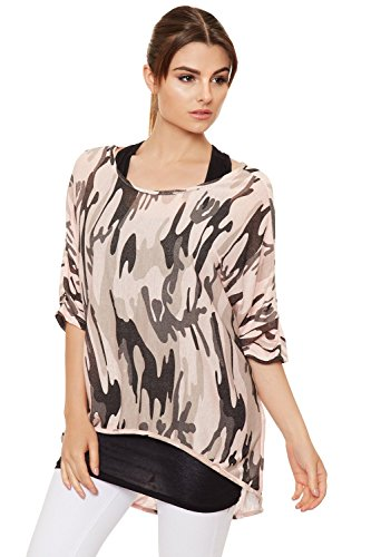 WEARALL Femmes Plus Camouflage Batwing Haut Dames Imprimer Tricoter Court Manche Insérer Bouffant - 40-50 Rose