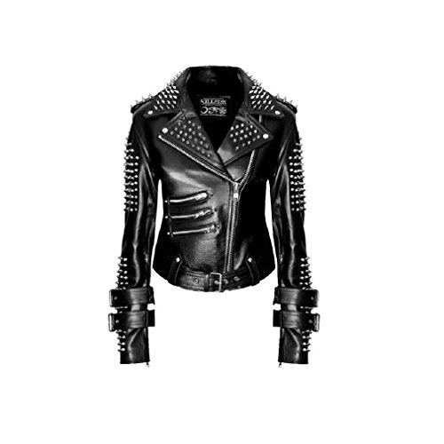 Kill Star donna giacca in pelle giacca moto nera con borchie e Spikes-Metal Spikes Leather Jacket With Studs nero nero L