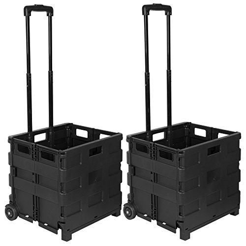 WOLTU EW4801sz 2er Einkaufswagen 64L Einkaufstrolley Einkaufsroller Shopping Trolley klappbar bis 35kg 100x42x40,5cm Schwarz