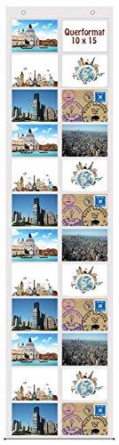 trendfinding® Fotovorhang 10 x 15 cm mit 24 Taschen Querformat Foto Bilder Postkarten Format Fotowand Fotogalerie Fototaschen Fotohalter Taschenvorhang Fotos