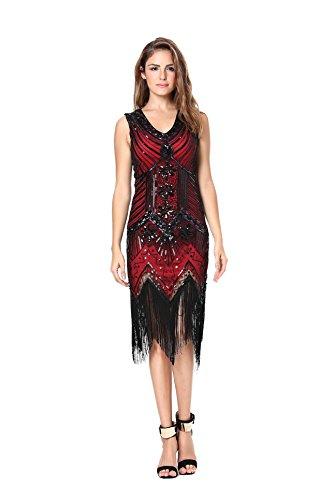 Damen 1920er Pailletten Kleid Gatsby Art Deco/Cocktail/Flapper Party Kleider mit Fransen Saum Gr. L, Q2-burgundy