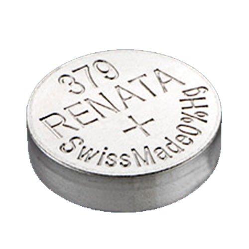 2 x renata montre bracelet pile - fabriqué en Suisse - Batteries Cells argent oxyde 0% mercure GRATUIT PILE BOUTON 1.55V Renata longue durée batteries - Argent, 379 (SR521SW)
