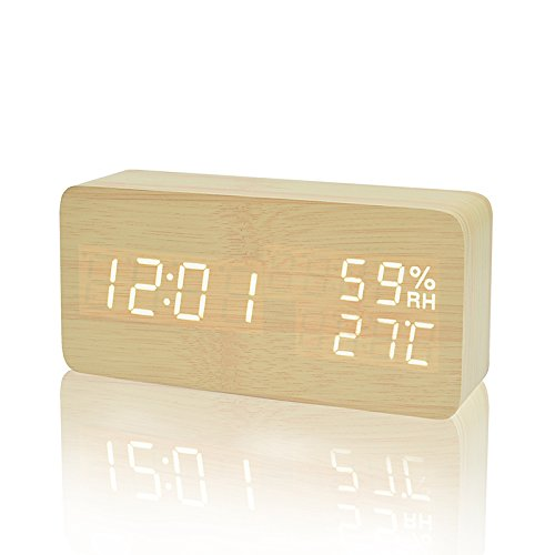 FIBISONIC LED Holz Wecker Modern Tischuhr Klein Standuhr Datum/Temperatur/Feuchtigkeit Anzeige Digital Wecker Bambus